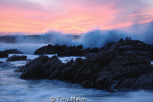 Wild waters at sunset by Tony Makin 